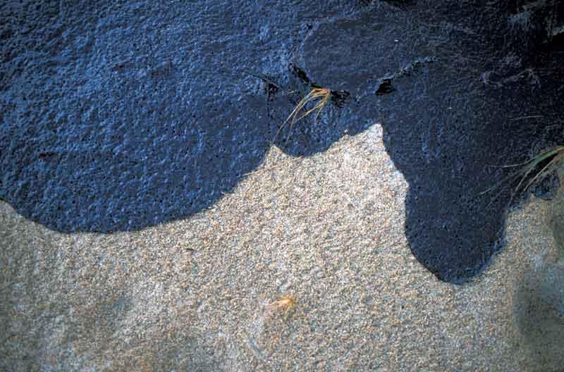 Spilled oil on sandy beach