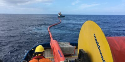 Spill containment and collection drill with Markleen skimmer and booms
